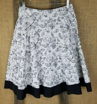Twenty One women S flare skirt floral embroidery black white - $14.85
