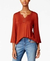 Style&co Top Brown Size 1X Plus Grommet Embellished 3/4 Sleeve NEW RL40 - $28.24