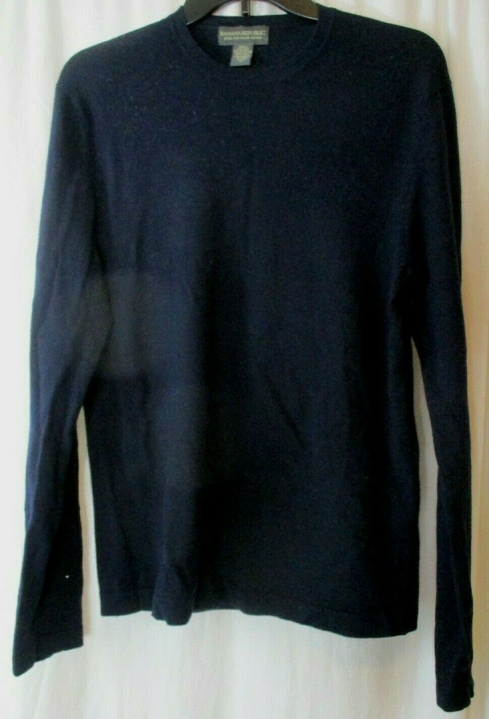 Primary image for Banana Republic Mens Med. 100% Wool Sweater Extra Fine Merino Blue Long Sleeve
