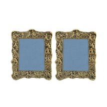 Photo Frame Pair Antique Golden with Intricate Carving in Metal by Paradise - $72.74