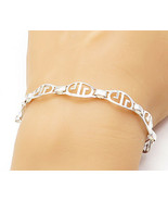 925 Sterling Silver - Shiny Smooth Cutout Design Link Chain Bracelet - B... - $32.73