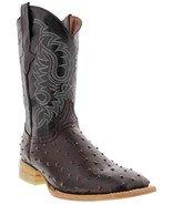 Mens Cherry Ostrich Quill  Pattern Leather Western Wear Cowboy Boots Squ... - €83,52 EUR