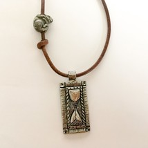 "Green Girl Studios Hourglass/Rodent Leather Necklace 24"" Shining Bee ori... - $25.22"