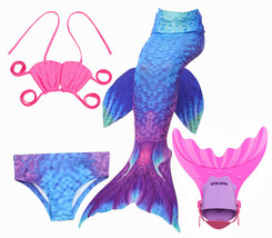 HOT!Kids Girl Mermaid Tail with Fin Costume Swimmable Tail with Monofin swimwear - $31.99