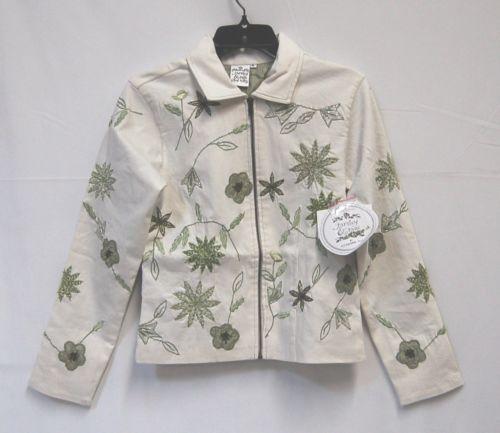 Parsley Sage Cream Green Size Small Short Jacket Beaded Zippered