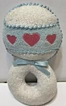 Eden Vintage Toy Plush Rattle Blue White Pink Heart - $13.59