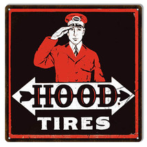 Aged Looking Black Red Hood Tires Gas Station Reproduction Sign 12x12 - $25.74