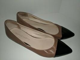 Franco Sarto Harold US 7.5 M 38.5 Tan Leather with Black Pointed Cap Toe Flats - $29.69