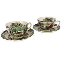 2 Johnson Brothers Friendly Village Tea Cup & Saucer Sets The Ice House ... - $14.80