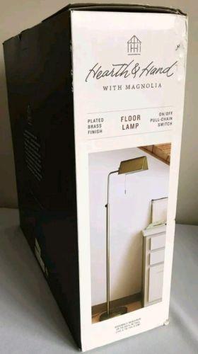 "Hearth & Hand™ with Magnolia Brass Floor Lamp 56"" To 60 3/4"" Tall NIB"