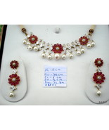 Ethnic Gold Necklace Earrings Diamond Ruby Pearl Gemstone Gold Jeweley Set - $4,454.01