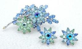 VTG 1950s CROWN TRIFARI Silver Tone Blue Green Rhinestone Pin Brooch Earrings - $173.25