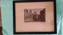 Rothenburg Germany Original ETCHING signed ERNST von GEISSENDORFER 3x5 c... - $85.00