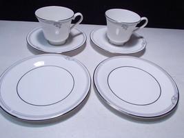 Royal Doulton Andante 6 Piece Snack Set ~~  2 cups & saucer & 2 B&B plts - $7.99