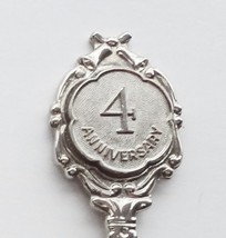 Collector Souvenir Spoon 4th Forth Anniversary Embossed  - $3.99