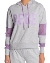 Plus Size BEBE Sport Mesh Panel Accent Hoodie Pullover Gray & Purple 2X - $21.19