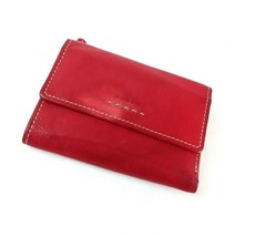 FOSSIL Womens Wallet Trifold Red Genuine Leather Organizer - $16.36