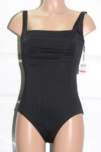 NEW Calvin Klein Solid Shirred Front Black One piece Swimsuit Size 10 - $49.49