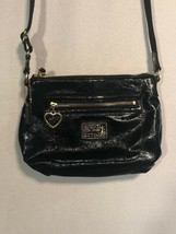 Coach Signature Black Patent Leather Poppy Shoulder Crossbody Bag Gold Z... - $24.74