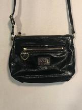Coach Signature Black Patent Leather Poppy Shoulder Crossbody Bag Gold Zip Pouch - $24.74
