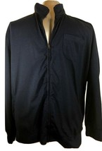Mens Jacket Navy Black Athletic Lightweight Striped FALL Zip Front Jacke... - $18.99