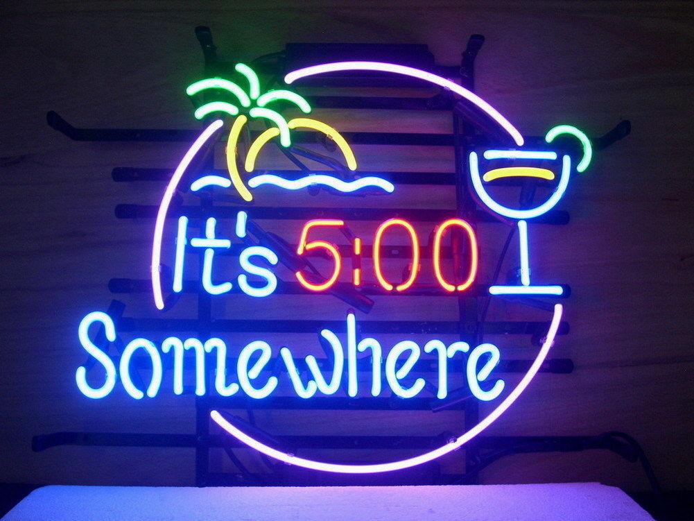 "New It's 5:00 Clock Somewhere Palm Tree Neon Sign 24""x20"""
