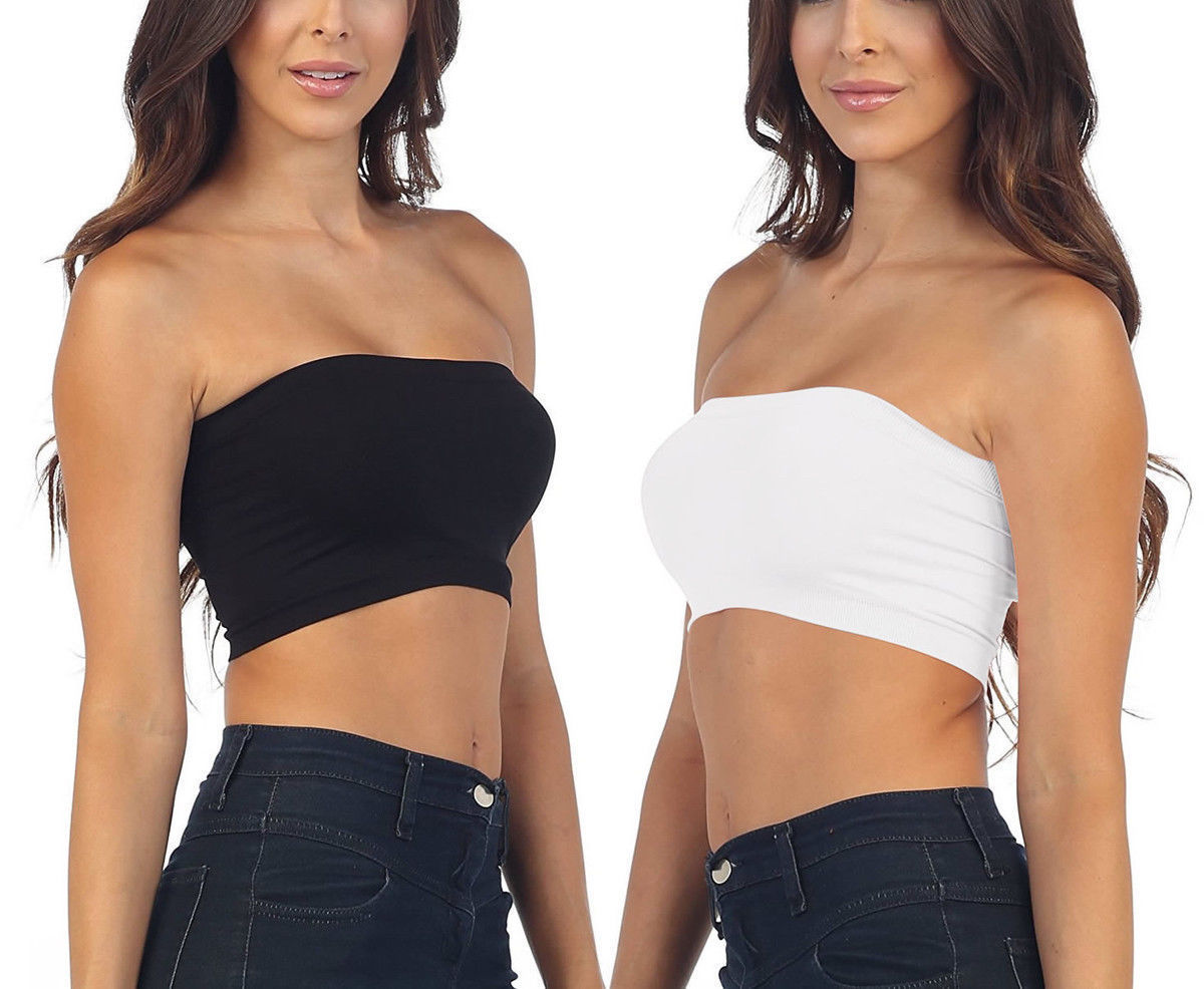 22d48cc4dbf777 Womens Strapless Padded Bra Bandeau Tube Top and 50 similar items. S l1600