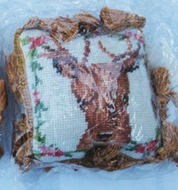 "CHRISTMAS COUTURE by JASON KEITH PETIT POINT DEER TASSEL 4"" PILLOW ORNAM... - $14.24"