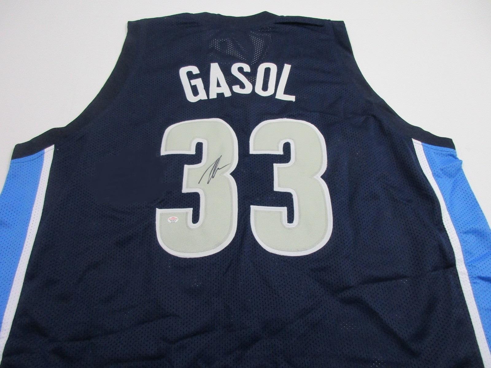 PAU GASOL / AUTOGRAPHED MEMPHIS GRIZZLIES BLUE CUSTOM BASKETBALL JERSEY / COA