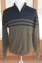 Ralph Lauren Size Large Chaps Sweater 1/4 Zip Crest Green & Black Striped (AM) - $23.74