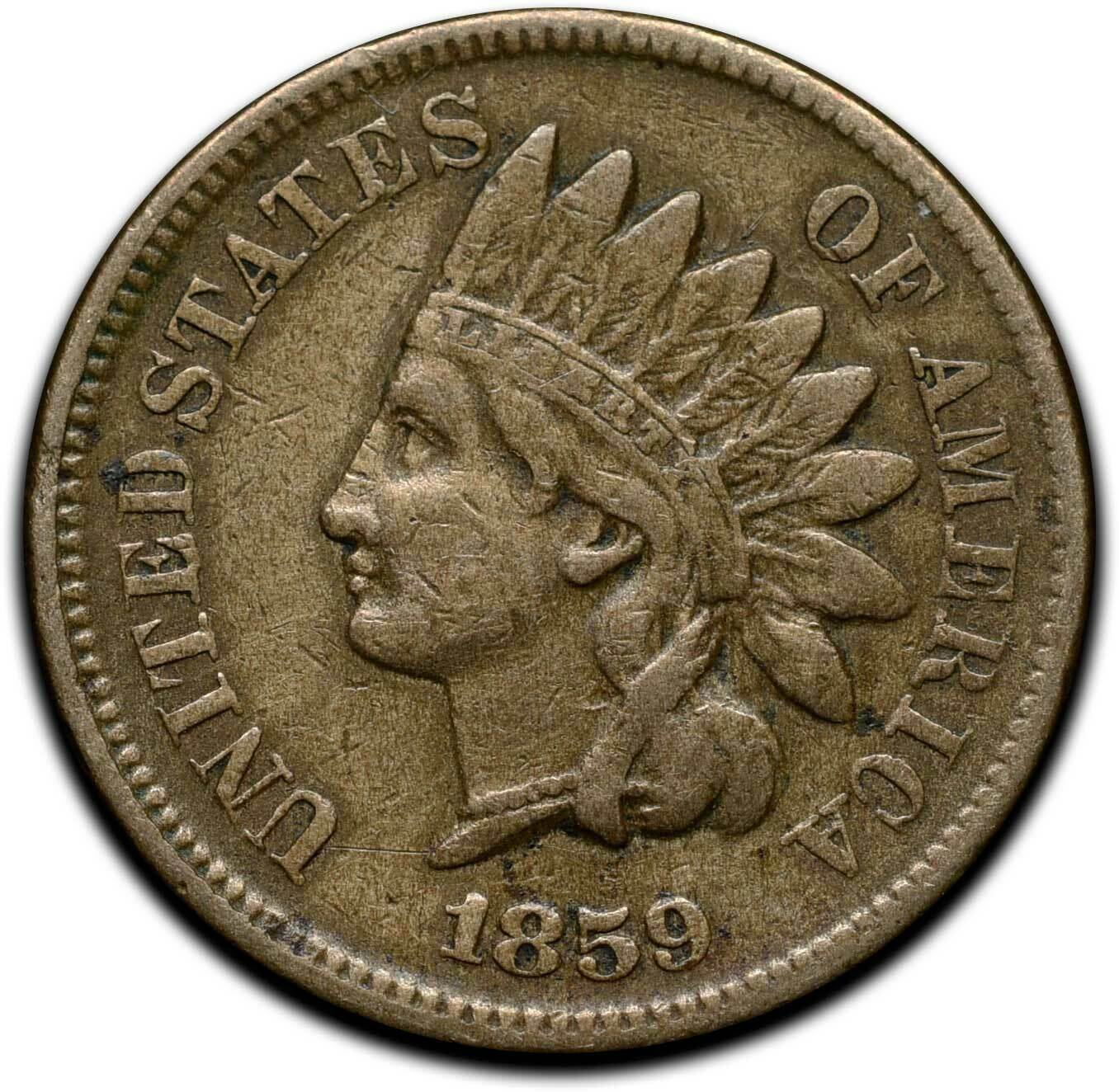 1859 Indian Head Cent Penny Coin Lot A 299