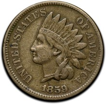 1859 Indian Head Cent Penny Coin Lot A 299 image 1