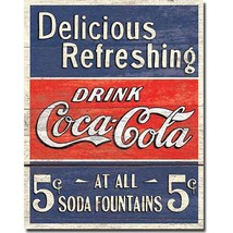 Coca Cola Coke Delicious 5 Cents Vintage Retro Style Wall Decor Metal Ti... - $14.99