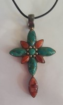 Inlaid Turquoise 925 Sterling Silver Cross Pendant  - $46.74