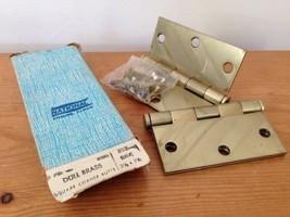 "Pair Vintage National Dull Satin Brass Door Hinge Square Corner Butts 3.5"" - $19.99"