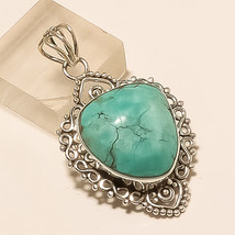 Natural Iran Persian Turquoise Pendant 925 Sterling Silver Bohemian Jewelry Gift - $23.72