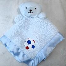 RARE Tiddliwinks lovey Blue Bear Soccer ball Sherpa Baby Blanket Satin S... - $71.77