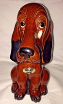 Basset Hound Dog with Tear Drop Savings Bank Vintage Enesco Pottery - $8.80