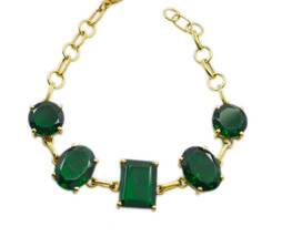 exquisite Emerald CZ Gold Plated Green Bracelet genuine easily US gift - $24.74