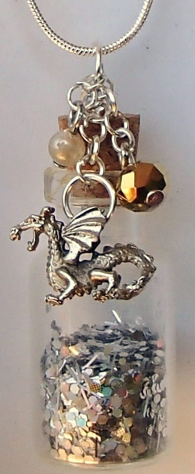 Primary image for Glass Bottle Necklace Handcrafted Custom Made Gemstones Charms Glitter Sand Etc