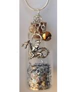Glass Bottle Necklace Handcrafted Custom Made Gemstones Charms Glitter Sand Etc  - €23,13 EUR