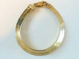 Vintage LIRM ITALY Sterling Silver Gold Vermeil Flex Herringbone Bracele... - $33.25