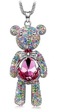 "Womens J.NINA ""Bear Princess""  Pink Swarovski Crystals Pendant Necklace - $99.95"