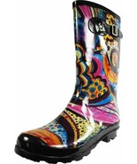 sz 9 monet New Womens Rain Boots Rubber Printed Mid Height Wellie Mid Ca... - $52.92