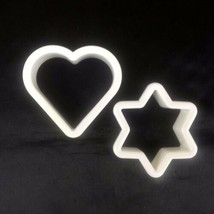 Cookie Cutters Heart Six Sided Star Flower Sheriff Badge Lot of 2 White ... - $7.99