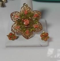 Vintage Gold-tone Floral Filigree Pendant & Matching Pierced Earrings Set - $34.65