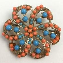 Vintage Coral Color Blue Beaded Brooch Screwback Earrings Set Floral Flower - $25.21