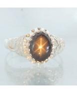 Thai Star Sapphire Handmade Silver Ladies Floral Flower Statement Ring s... - $160.55