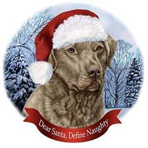 Holiday Pet Gifts Chesapeake Bay Retriever Sage Dog Santa Hat Porcelain ... - $18.34