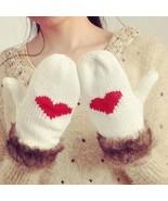 Womens Cashmere Knitted Wools Mittens Fashion Winter Warm Plush Wrist Gl... - $9.49